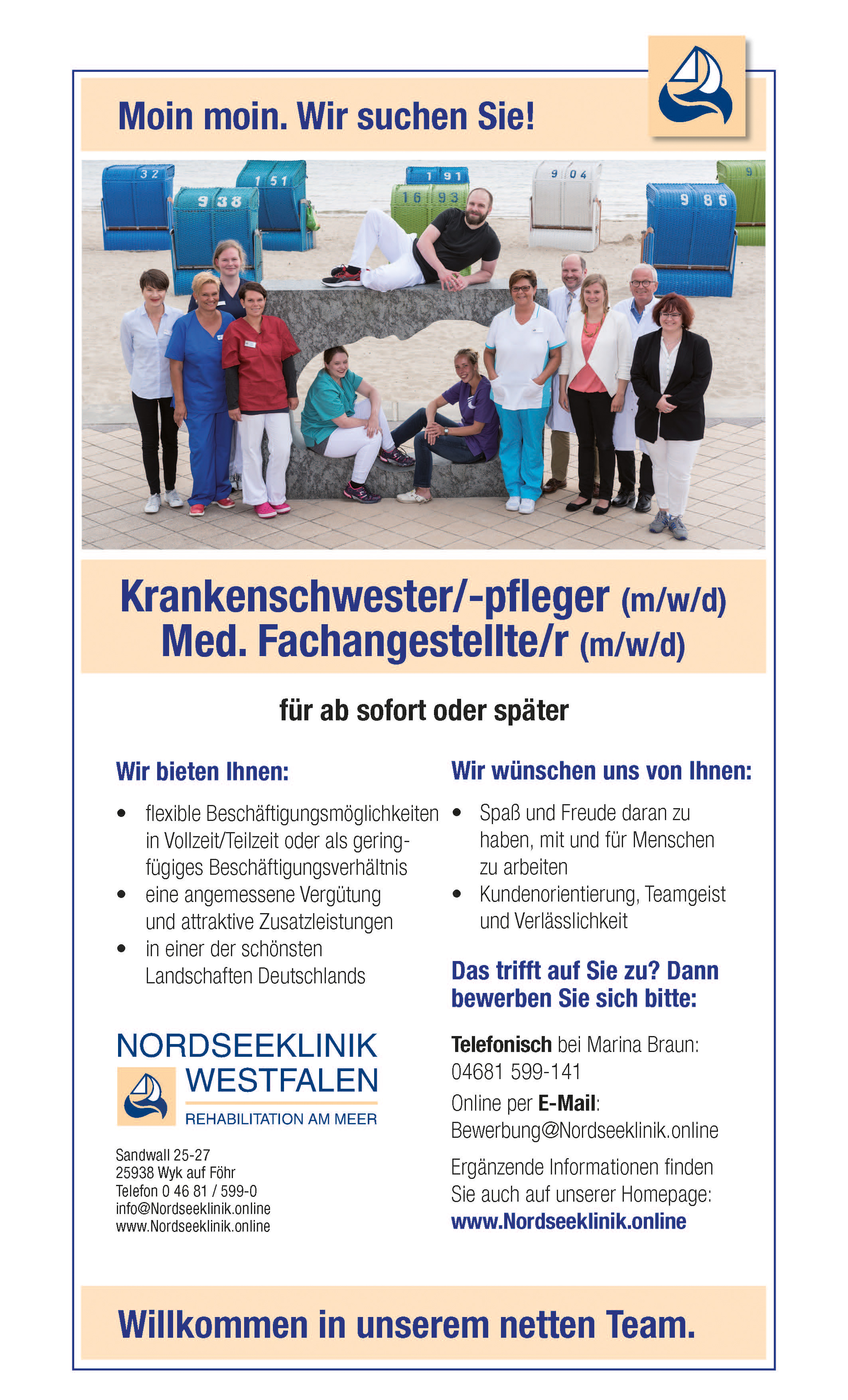 Stellenanzeige Krankenpflege mit Perspektive Nordseeklinik Westfalen
