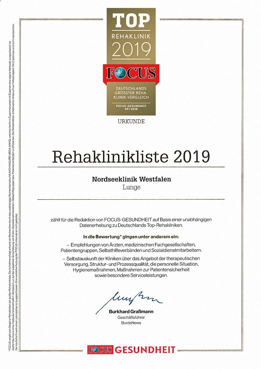 Die Nordseeklinik Westfalen zählt zu Deutschlands TOP-REHAKLINIKEN FOCUS 2019