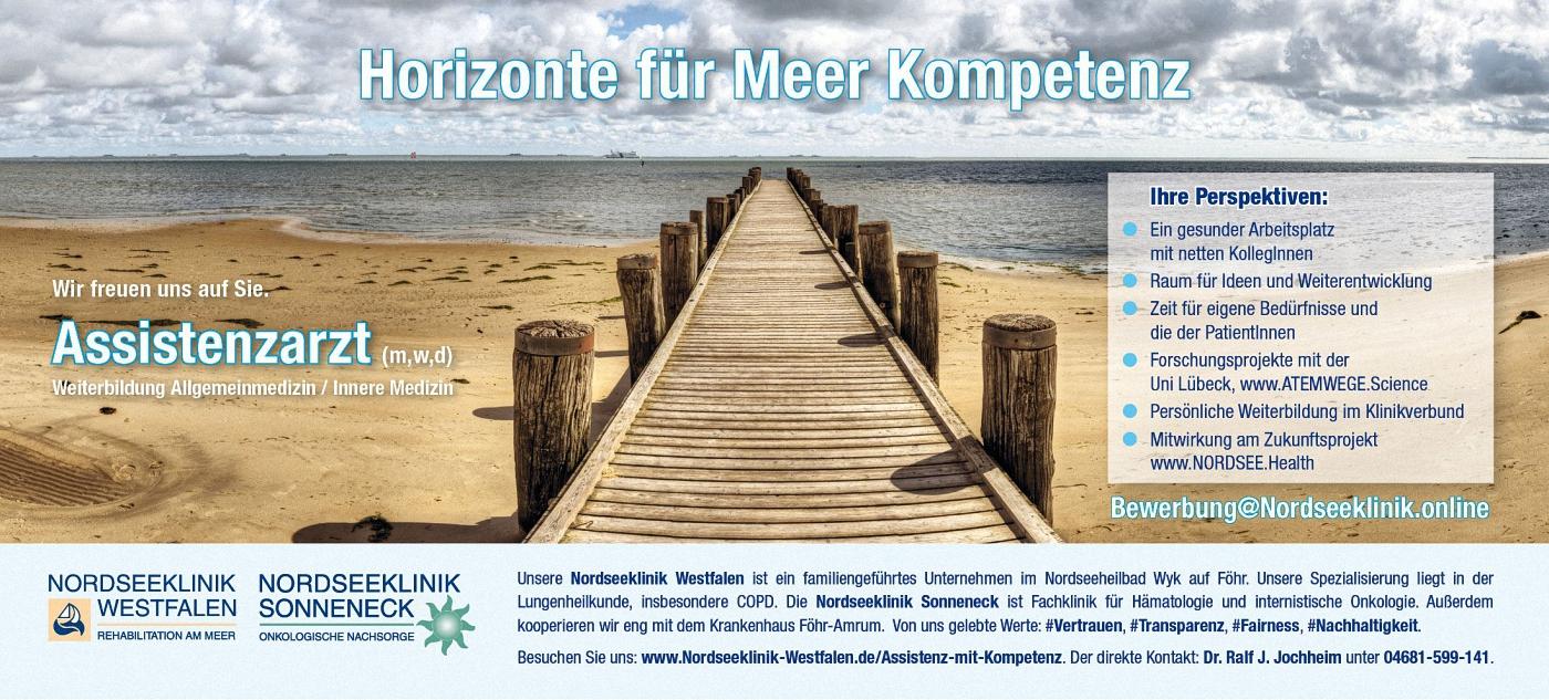 Anzeige Jobsuche Assistenzarzt Weiterbildung Nordseeklinik Westfalen COPD Asthma Schwerpunktklinik