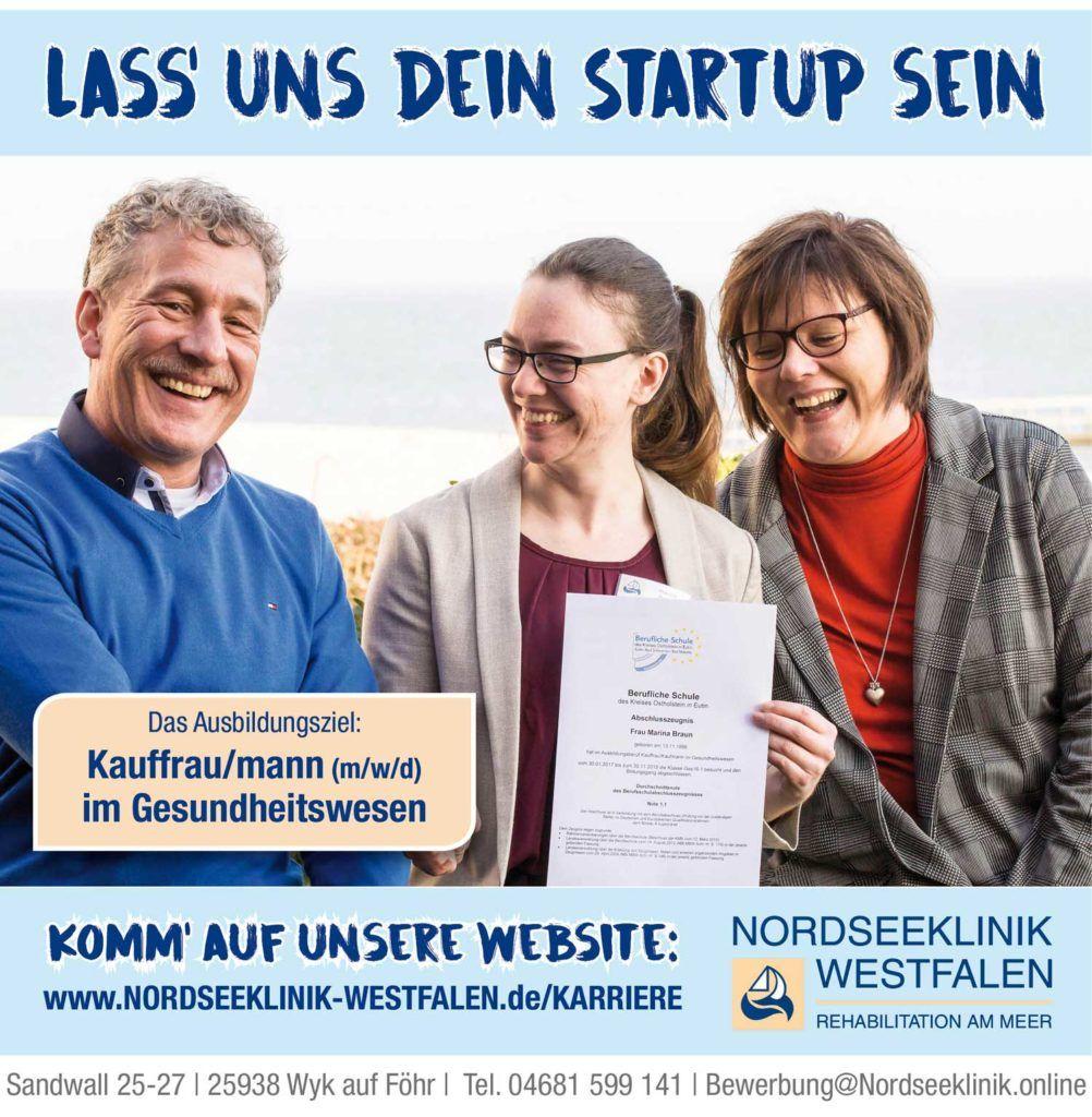 Anzeige Ausbildung zum Kaufmann im Gesundheitswesen bei der Nordseeklinik Westfalen