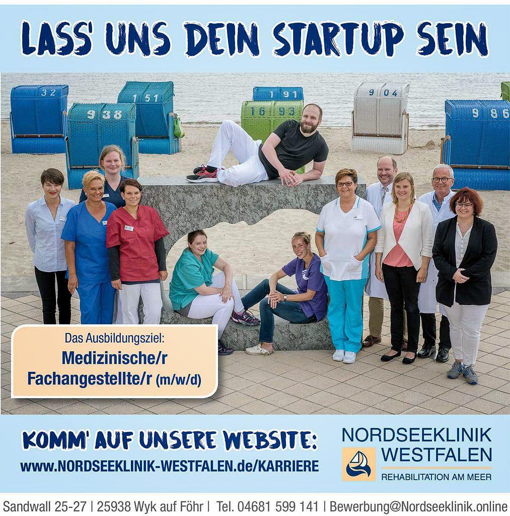Anzeige Ausbildung med. Fachangestellte/r (m/w/d) Nordseeklinik Westfalen