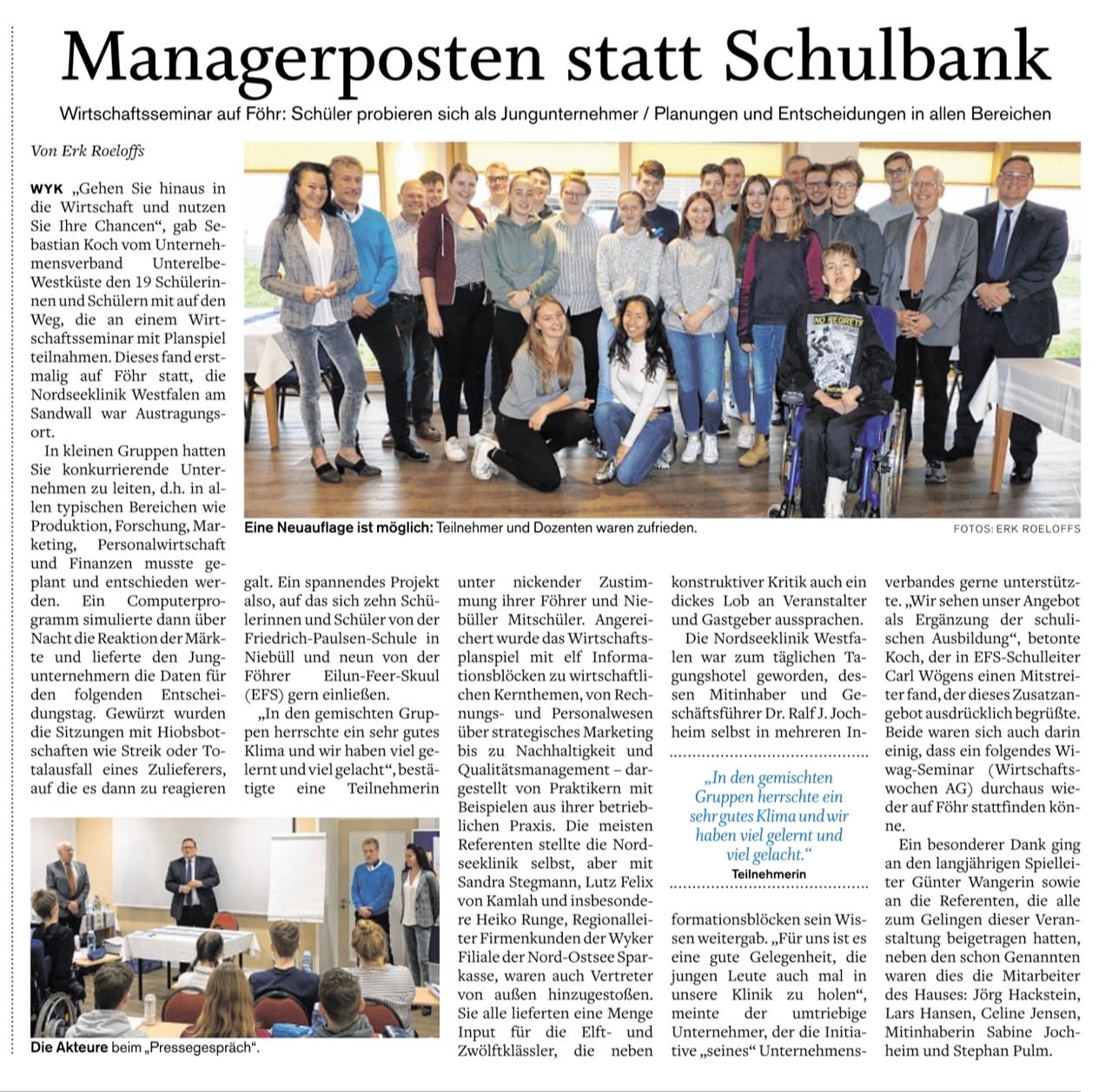 Zeitungsartikel über das WIWAG-Seminar Wirtschaftsplanspiel für Jungmanager:innen auf Föhr